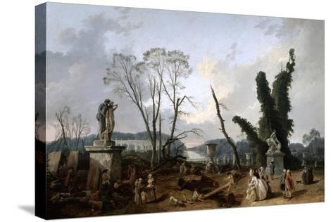 View of the 'Tapis Vert' in Versailles, 19th Century-Fanny Robert-Stretched Canvas Print