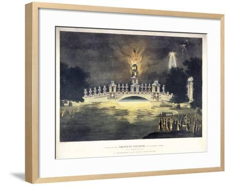 Chinese Bridge in St James's Park, in Celebration of the Glorious Peace of 1814-Frederick Calvert-Framed Art Print