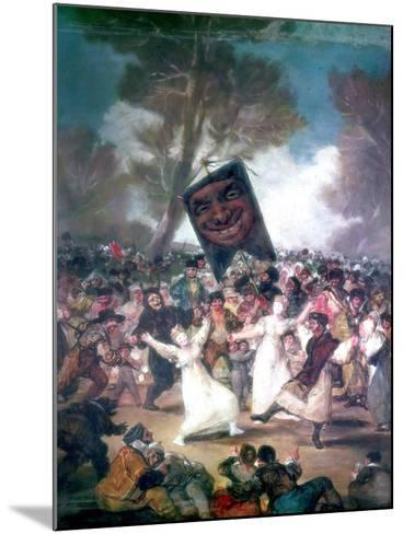 Bull Fight in a Village, 1812-1814-Francisco de Goya-Mounted Giclee Print