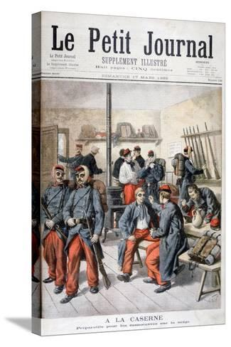 In the Barracks, Preparation for Manoeuvres in the Snow, 1895-Frederic Lix-Stretched Canvas Print