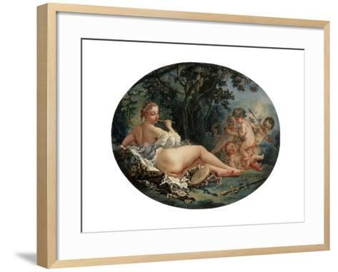 Bacchante Playing a Reed-Pipe, 18th Century-Fran?ois Boucher-Framed Art Print