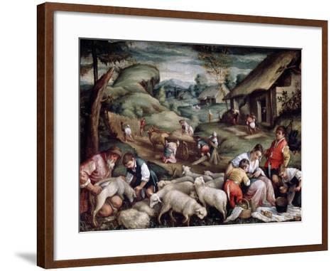 Summer. Sheep Shearing, C1570-C1580-Francesco Bassano-Framed Art Print
