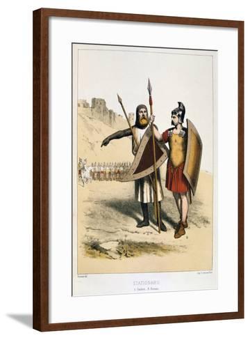 Stationarii, a Gaul and a Roman, C1887-Francois Cudet-Framed Art Print