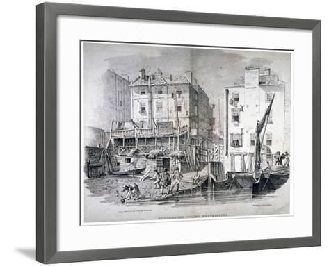 View of Hungerford Stairs, Near the Market, Westminster, London, 1822-George Harley-Framed Art Print