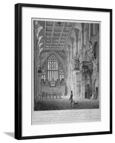 Interior of the Guildhall, City of London, 1816-George Hawkins-Framed Art Print