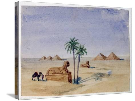 Sphinx and Pyramids, Giza II, 1820-1876-George Sand-Stretched Canvas Print