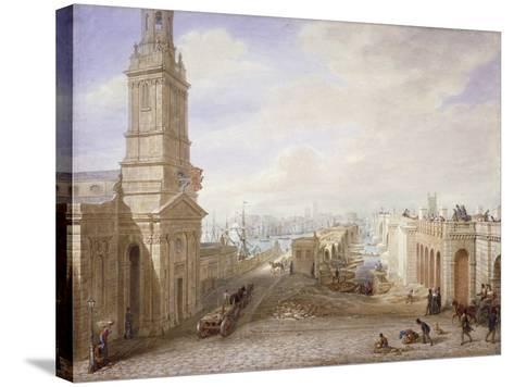 Old and New London Bridges Looking South, London, 1831-George Scharf-Stretched Canvas Print