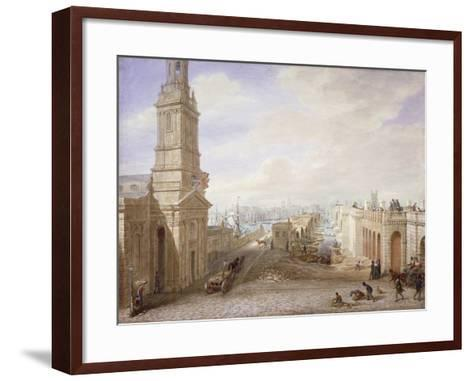 Old and New London Bridges Looking South, London, 1831-George Scharf-Framed Art Print