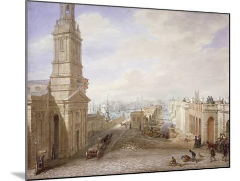 Old and New London Bridges Looking South, London, 1831-George Scharf-Mounted Giclee Print