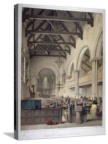 Interior View of St Leonard's Church, Bromley-By-Bow, London, C1860-George Hawkins-Stretched Canvas Print