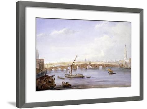 Old and New London Bridges, London, 1831-George Scharf-Framed Art Print