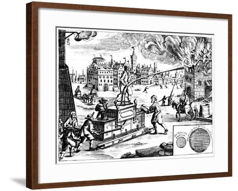 Fire Engine, from Georg Andreas Bockler's Theatrum Machinarum Novum, 1673-Georg Andreas Bockler-Framed Art Print
