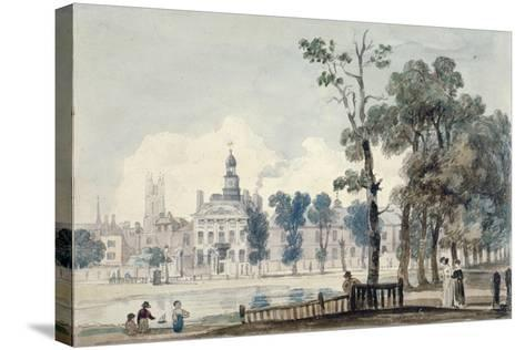 Exterior View of Old Bethlehem Hospital, Moorfields, City of London, 1811-George Arnald-Stretched Canvas Print