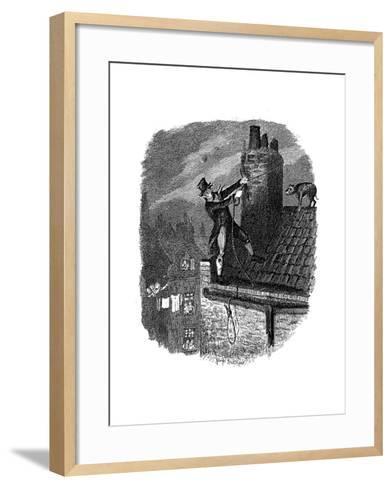 Scene from Oliver Twist by Charles Dickens, 1837-George Cruikshank-Framed Art Print