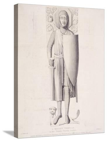 View of the Effigy of a Knight from Temple Church, London, 1840-George Hollis-Stretched Canvas Print