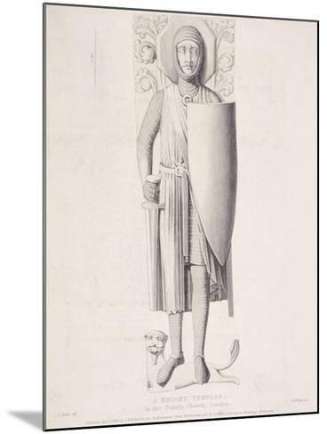 View of the Effigy of a Knight from Temple Church, London, 1840-George Hollis-Mounted Giclee Print