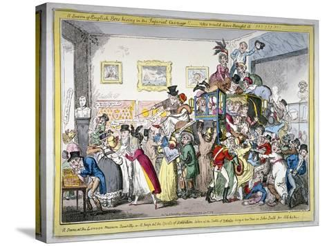 A Swarm of English Bees Hiving in the Imperial Carriage!! a Scene at the London Museum, 1816-George Cruikshank-Stretched Canvas Print