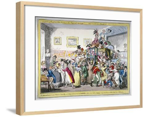 A Swarm of English Bees Hiving in the Imperial Carriage!! a Scene at the London Museum, 1816-George Cruikshank-Framed Art Print