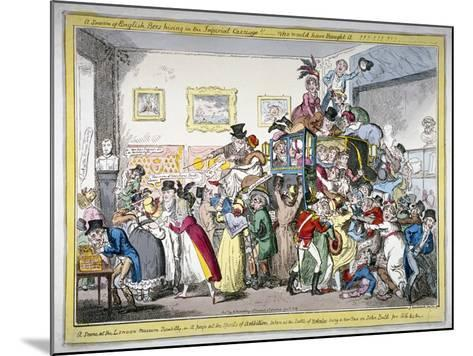 A Swarm of English Bees Hiving in the Imperial Carriage!! a Scene at the London Museum, 1816-George Cruikshank-Mounted Giclee Print