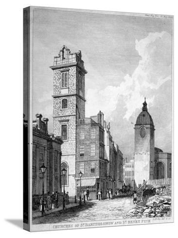 St Bartholomew-By-The-Exchange and St Benet Fink, City of London, 1840-George Hollis-Stretched Canvas Print