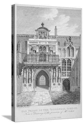Front View of the Guildhall, Looking North, City of London, 1818-George Hollis-Stretched Canvas Print