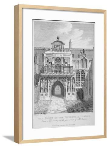 Front View of the Guildhall, Looking North, City of London, 1818-George Hollis-Framed Art Print