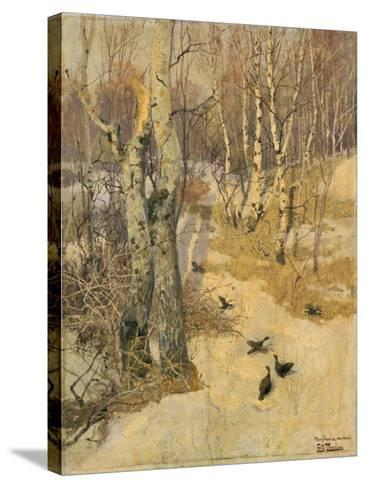 Woods Covered with Snow, 19th Century-Frits Thaulow-Stretched Canvas Print