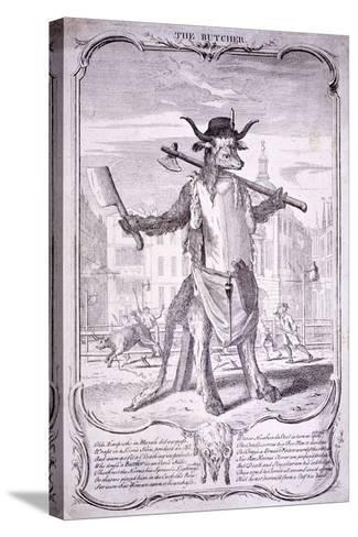 The Butcher, 1740-George Bickham-Stretched Canvas Print
