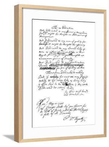 Dedication Written by William Hogarth, 1745-Frederick George Netherclift-Framed Art Print