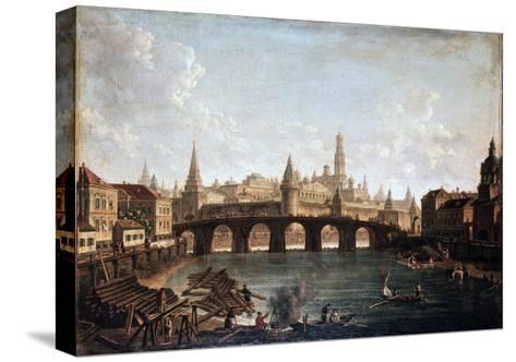 View from the Moscow Kremlin and the Bolshoy Kamenny Bridge (Greater Stone Bridge), 1810S-Fyodor Yakovlevich Alexeev-Stretched Canvas Print