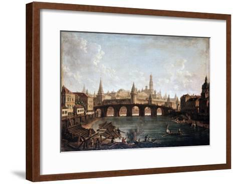 View from the Moscow Kremlin and the Bolshoy Kamenny Bridge (Greater Stone Bridge), 1810S-Fyodor Yakovlevich Alexeev-Framed Art Print