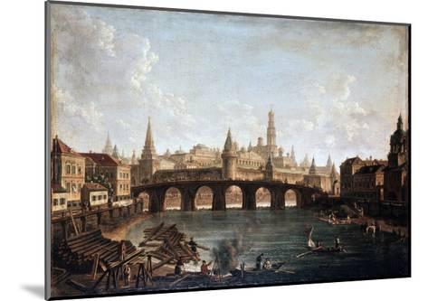View from the Moscow Kremlin and the Bolshoy Kamenny Bridge (Greater Stone Bridge), 1810S-Fyodor Yakovlevich Alexeev-Mounted Giclee Print