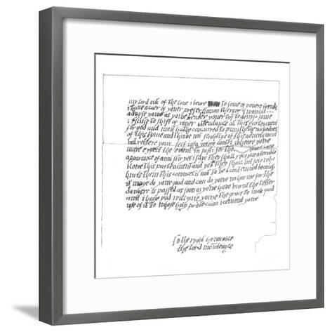 Letter to Lord Monteagle Which Led to the Discovery of the Gunpowder Plot, 1605-Frederick George Netherclift-Framed Art Print