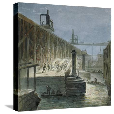 Demolition Work Being Carried Out on Blackfriars Bridge from the Surrey Shore, London, 1865-George Maund-Stretched Canvas Print