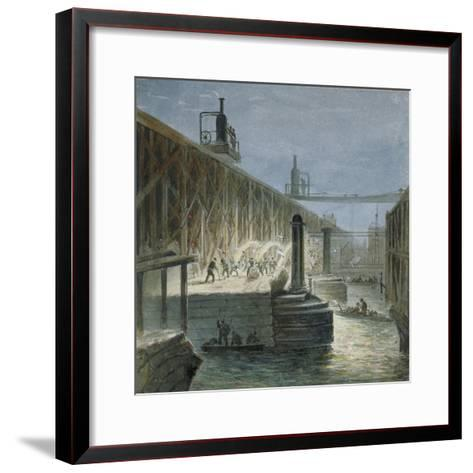 Demolition Work Being Carried Out on Blackfriars Bridge from the Surrey Shore, London, 1865-George Maund-Framed Art Print