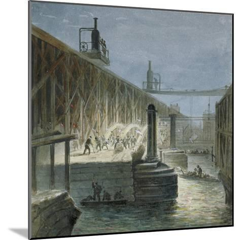 Demolition Work Being Carried Out on Blackfriars Bridge from the Surrey Shore, London, 1865-George Maund-Mounted Giclee Print