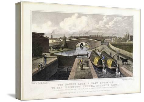 The Double Lock and East Entrance to the Islington Tunnel, Regent's Canal, 1827-Frederick James Havell-Stretched Canvas Print