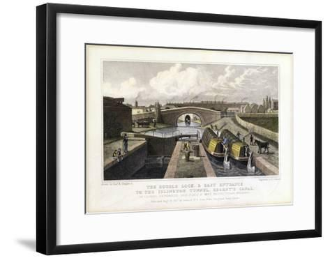 The Double Lock and East Entrance to the Islington Tunnel, Regent's Canal, 1827-Frederick James Havell-Framed Art Print