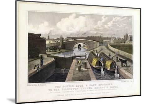 The Double Lock and East Entrance to the Islington Tunnel, Regent's Canal, 1827-Frederick James Havell-Mounted Giclee Print