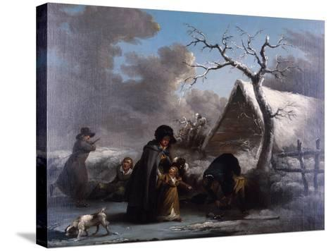Skating, 1792-George Morland-Stretched Canvas Print