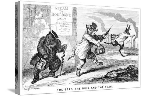 The Stag, the Bull, and the Bear, 19th Century-George Cruikshank-Stretched Canvas Print