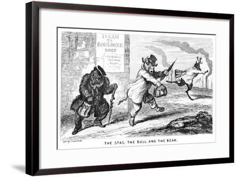 The Stag, the Bull, and the Bear, 19th Century-George Cruikshank-Framed Art Print
