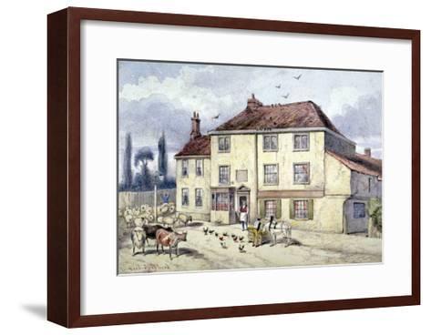 View of the Old Pied Bull Inn, Islington, London, C1840-Frederick Napoleon Shepherd-Framed Art Print