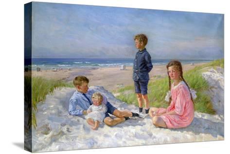 Erik, Else, Ove and Birthe Schultz on the Beach, 1919-Gabriel Jensen-Stretched Canvas Print