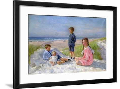 Erik, Else, Ove and Birthe Schultz on the Beach, 1919-Gabriel Jensen-Framed Art Print