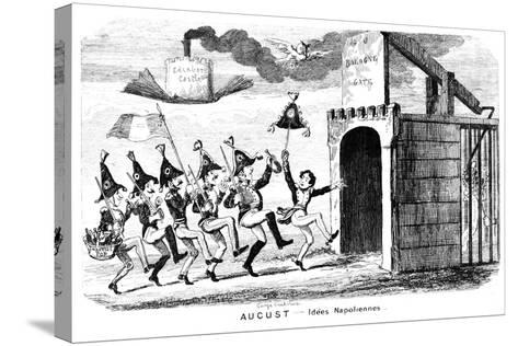 August - Idees Napoliennes, 19th Century-George Cruikshank-Stretched Canvas Print