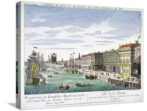View of Custom House and River Thames, London, C1760-George Godofroid Winkler-Stretched Canvas Print