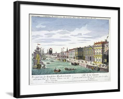 View of Custom House and River Thames, London, C1760-George Godofroid Winkler-Framed Art Print