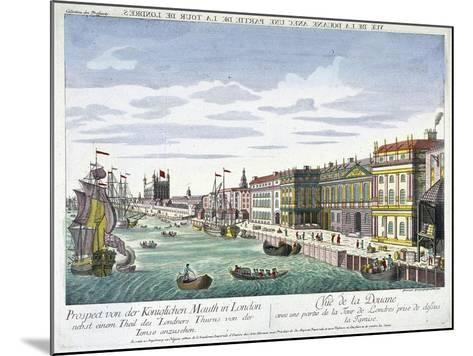 View of Custom House and River Thames, London, C1760-George Godofroid Winkler-Mounted Giclee Print