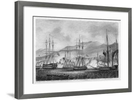 Attack on Sidon by Commodore Charles Napier, 26 September 1840-George Greatbatch-Framed Art Print